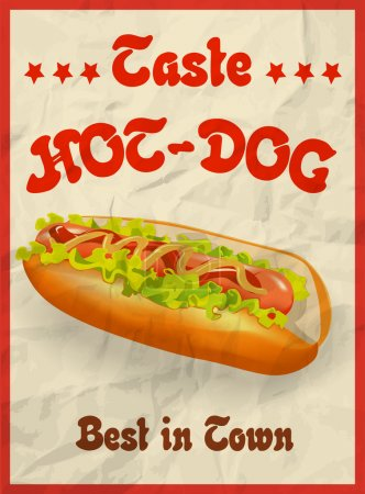 Vector Vintage Hot Dog poster concept. crumpled paper effects can be easily removed.