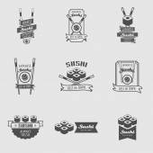 Vector Sushi logotypes set 9 logos with sushi rolls and chopsticks Sushi vintage design elements logos badges label icons and objects Can be used for design menu posters flyers or cards