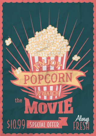 Enjoy popcorn and watch the movie. Poster design template with popcorn bucket. Crumpled paper effects can be easily removed.