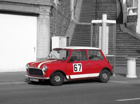 Red Austin Mini Cooper - Black and White Photography