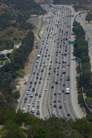 Busy Freeway Traffic in Los Angeles