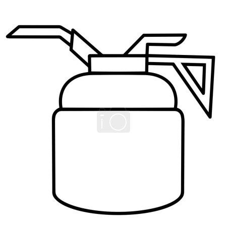 Illustration pour Icône vectorielle de l'huile. contour noir du lubrificateur. Art linéaire d'un pistolet à huile. Réservoir pour stocker l'huile de la machine. Illustration isolée sur fond blanc. Une gribouille dessinée à la main. Circuit mince. - image libre de droit