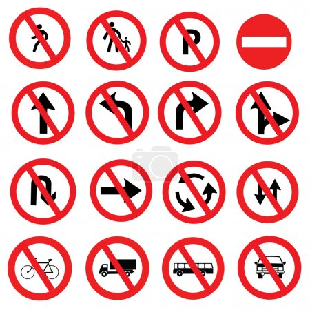 road signs, traffic signs vector set on white background