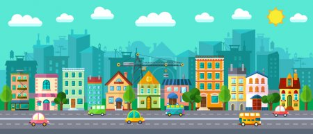 Vector City Street in a Flat Design and Set of Urb...