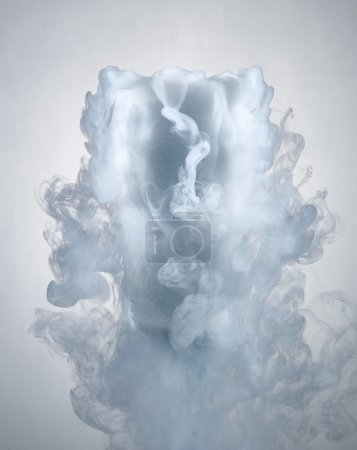 glass with dry ice isolated on a white background