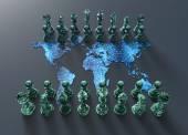 Digitální svět mapa šachovnici s šachy hrát