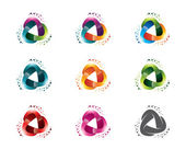 Modern and dynamic abstract design of a triangular logo circle triangle symbol