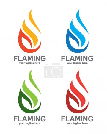Flame logo template. Oil and gas logo vector. Fire vector design.
