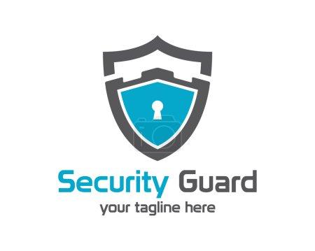 Illustration pour Vecteur de logo de gardien de sécurité. Symbole de protection de sécurité. Vecteur d'icône bouclier sécurisé. icône de verrouillage de confidentialité  . - image libre de droit