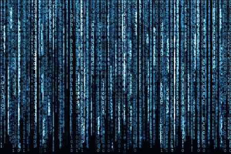 Photo pour Big Blue Code binaire comme fond de matrice, code informatique avec des caractères binaires brillants . - image libre de droit