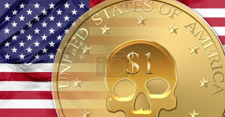 Photo for Flag of United States and one Dollar coin with skull mark.   financial concept about currency crisis, debt, bankruptcy and financial death of a nation - Royalty Free Image
