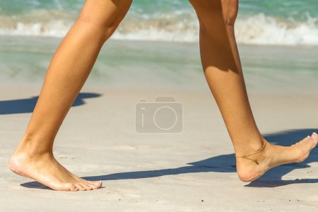 Women beach walk