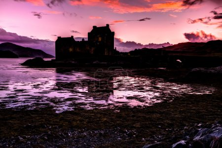 Eilean Donan Castle at evening, Dornie, Kyle of Lo...