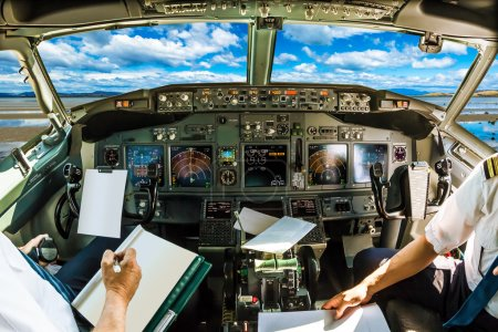 Cockpit in cloudy sky