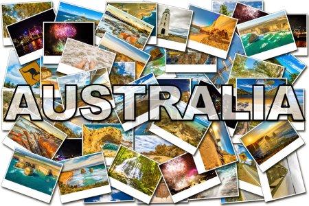 Australia pictures collage of several famous locat...