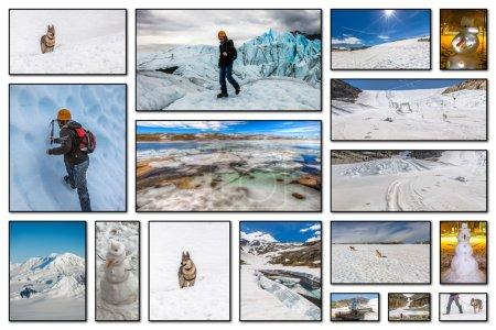 Foto de Collage imágenes de glaciares, deportes individuales, transporte, objetos y actividades relacionadas con las vacaciones de invierno. - Imagen libre de derechos