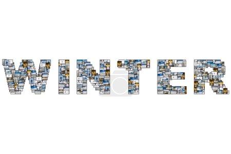 Foto de Collage imágenes de glaciares, deportes individuales, transporte, objetos y actividades relacionadas con las vacaciones de invierno aislados sobre fondo blanco. - Imagen libre de derechos