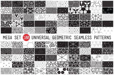 100 Universal different geometric seamless pattern...