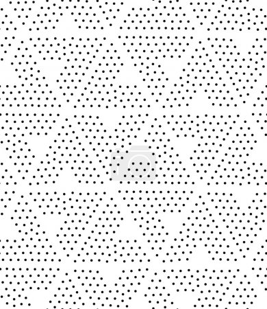 Illustration for Vector geometric seamless pattern. Repeating abstract triangle gradation in black and white dots. Modern pointillism design - Royalty Free Image