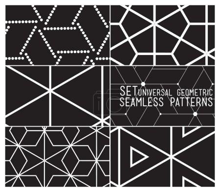Set of universal vector geometric seamless pattern