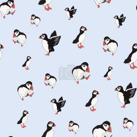 Illustration pour Vecteur bleu fond océan oiseaux marins, oiseaux arctiques, macareux. Fond de motif sans couture avec fond, illustration vectorielle. - image libre de droit