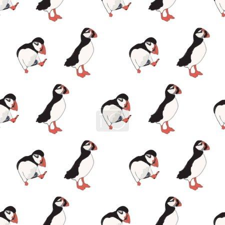 Illustration pour Vecteur blanc fond océan oiseaux marins, oiseaux arctiques, macareux. Fond de motif sans couture avec fond, illustration vectorielle. - image libre de droit