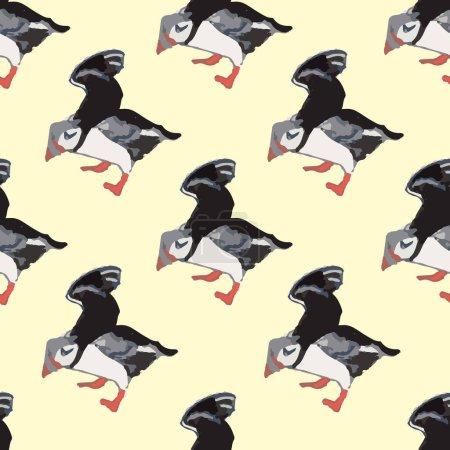 Illustration pour Vecteur jaune fond océan oiseaux marins, oiseaux arctiques, macareux. Fond de motif sans couture avec fond, illustration vectorielle. - image libre de droit