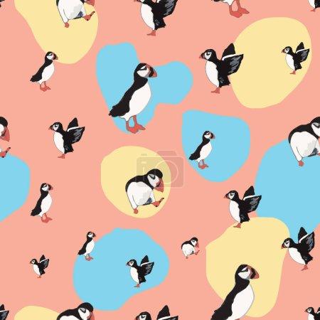 Illustration pour Vecteur orange fond océan oiseaux marins, oiseaux arctiques, macareux. Fond de motif sans couture avec fond, illustration vectorielle. - image libre de droit