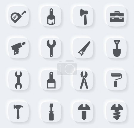 Illustration for Work tools vector icons for user interface design - Royalty Free Image