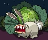 The enraged rabbit guards cabbage