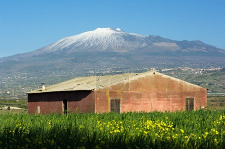 Abandoned barn and Etna