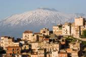 view of village on background Etna