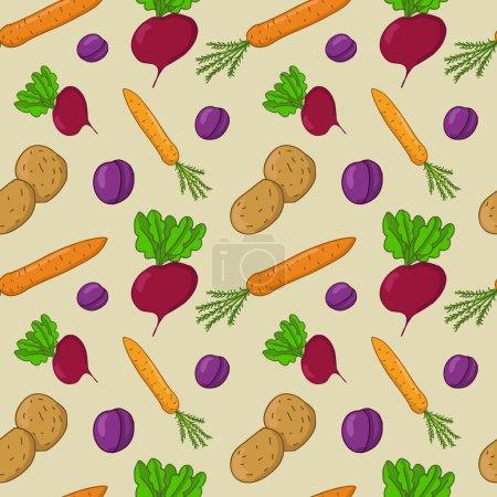 Illustration pour Modèle vectoriel sans couture avec légumes (betteraves, carottes, pommes de terre, prunes ) - image libre de droit