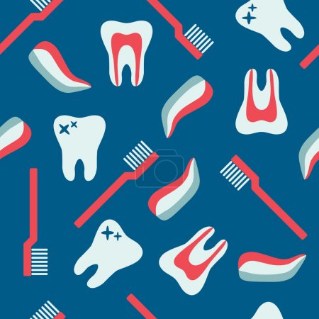Illustration pour Modèle dentaire sans couture avec dents, brosse à dents et dentifrice - image libre de droit