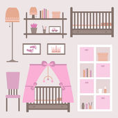 Child room for the newborn girl Baby room with furniture Nursery interior Vector file is easy to edit and ready for use