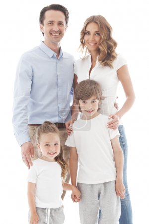 Photo for Happy family isolated on white background - Royalty Free Image