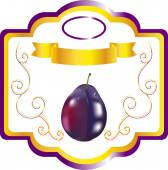 Label with plum sweet plum for juice packing a label for plum wine
