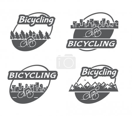 Retro logo bicycling. Bicycle and cyclist. Vintage badges