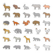 Vector line set of domestic and wild animals Colored silhouettes of animals on a white background Dog cat cow pig bear chicken and other animals