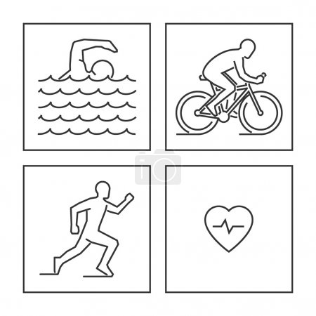 Line logo triathlon. Vector figures triathletes.