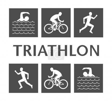 Flat logo triathlon. Vector figures triathletes.