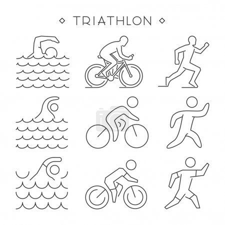 Linear triathlon symbol. Vector figures triathletes.