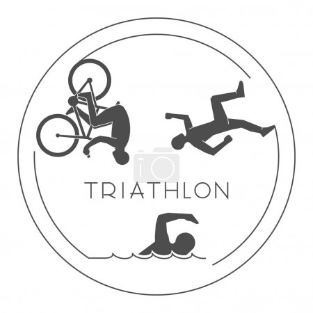 Black logo triathlon. Vector figures triathletes.
