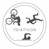 Black logo triathlon Vector figures triathletes