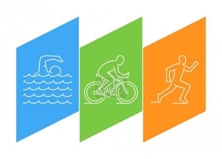 Color line logo triathlon and figures triathletes.