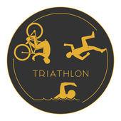 Gold logo triathlon Gold figures triathletes