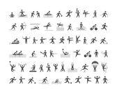 Black sports icons set Vector figures athletes