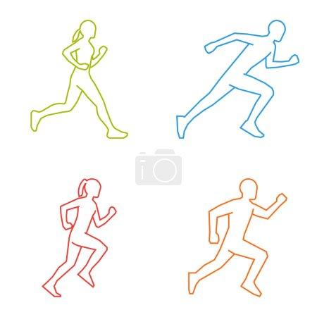 Outline silhouettes of runners. Line vector figures marathoner.