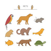 Outline set of pets Line group of pets