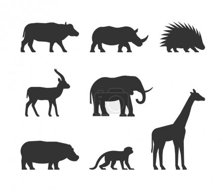 Vector black set of silhouettes african animals.